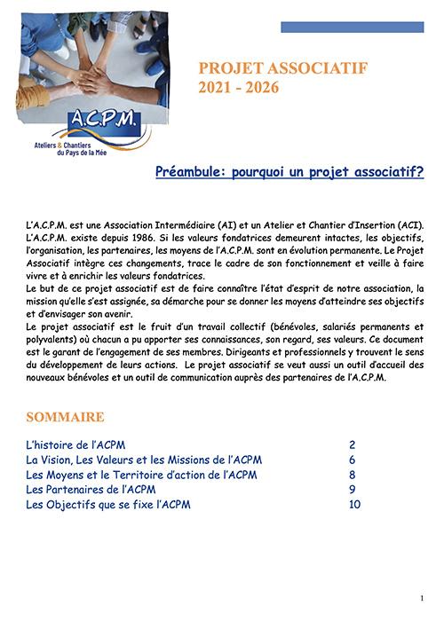 Couverture du Projet Associatif